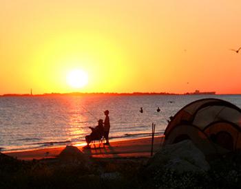 Fishing on the beach - Pismo Sands Beach Club